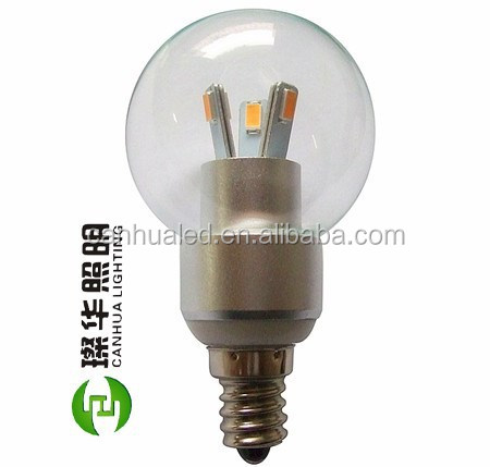 Super bright residential lighting 3W led round candle bulb with B15 E17 E12 E14 base