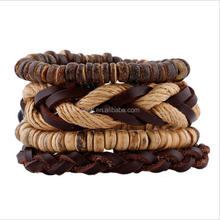 Fashion chevron pattern braided bangle and beads bracelet wholesale