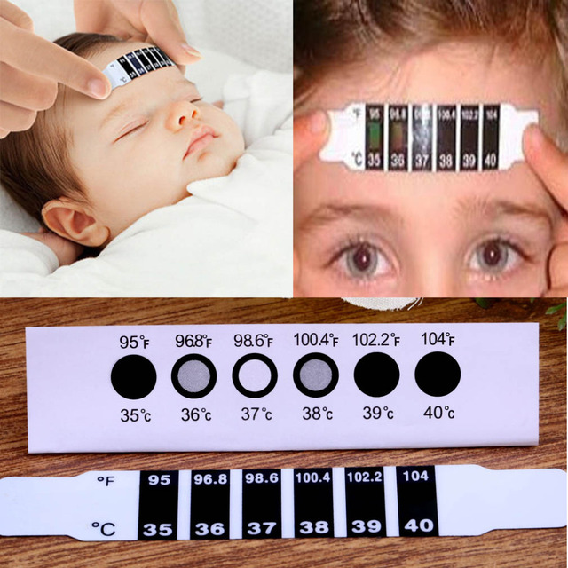 2016 New  High Quality 5pcs or 1pcs x Forehead Head Strip Thermometer Fever Body Baby Child Kid Test Temperature