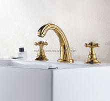 Wholesale And Retail Golden Color Bathroom Basin Dual Handle Hot and Cold Water Faucet