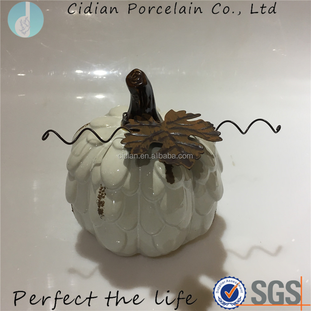 White ceramic pumpkin for home decoration
