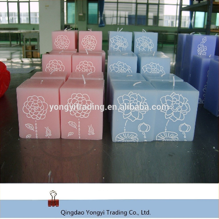 Wholesale high quality art square scented pillar candles wax