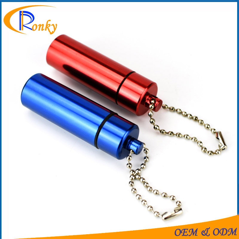 Hot sale creative gifts portable aluminum pill bottle for keychain