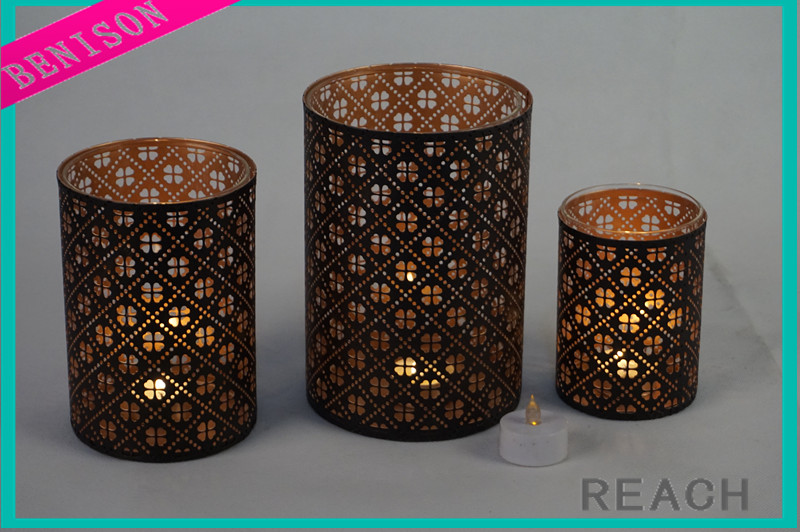 High quality wholesale Hurrciane new design royal metal with glass jar table candle holder for wedding decoration