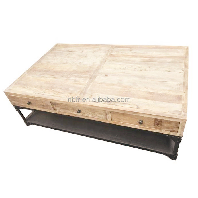 Industrial loft style recycled wood top metal base coffee table tea table