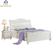 oak wood white double size bed