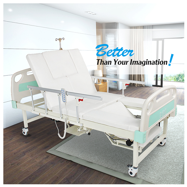 Maidesite king size home furniture rotating electronic hospital nursing disabled bed with toilet