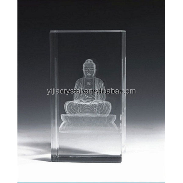 Fashion souvenir glass blocks/cubes 3d laser Buddha engraved cubes for Buddhism