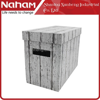 NAHAM White Wood Texture Desktop Document File Box for Hanging File