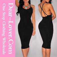 Black Double CrissCross Back Sexy All Types of Mature Ladies Dresses