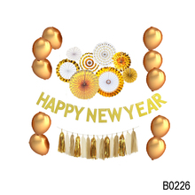 Gold Paper Fans Balloon Tassels Happy Chinese New Year Decoration