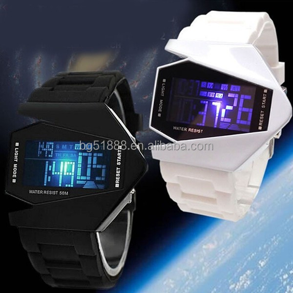 China factory customer logo top selling sport wearable led watch silicone flashing light alarm watch