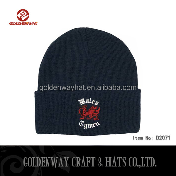 customized 100% acrylic Embroidery knitted beanie hat
