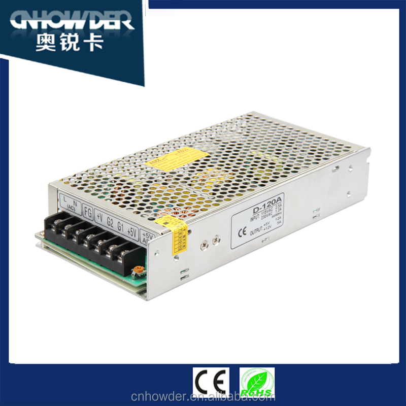 D-120 120w LED Dual Output SMPS 24v /12V/ 5v uninterruptible power supplies/ Switched Mode Power Supply with ce