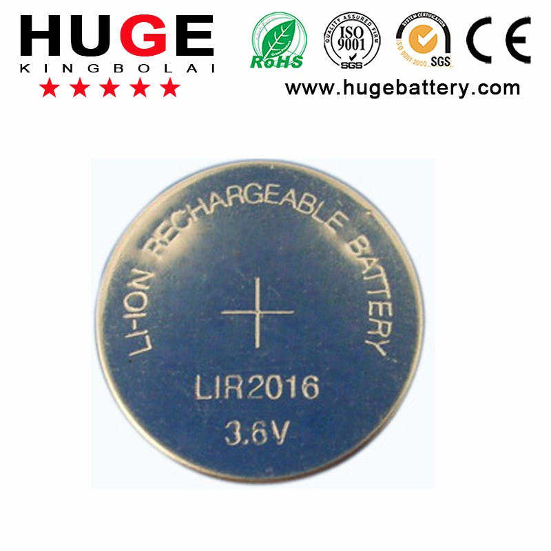 Super quality 3.6V LIR 2016 rechargeable Lithium Button Cell Battery