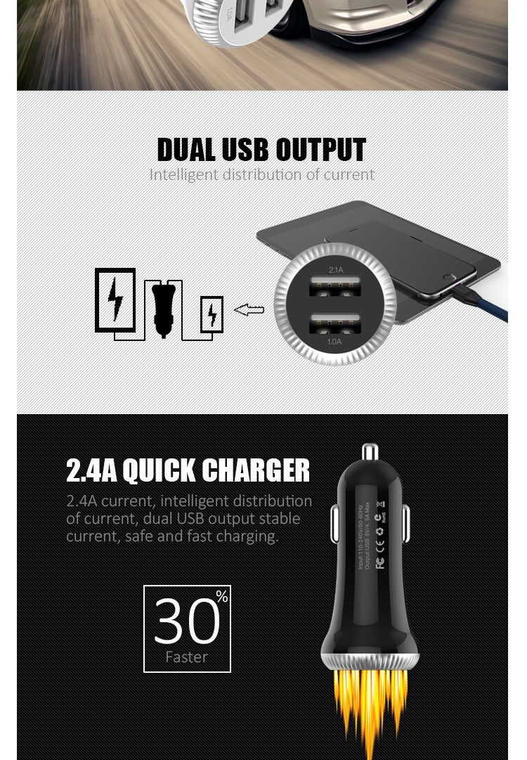 Wholesale 5V 1A universal portable mobile phone magnetic dual usb car charger for iPhone