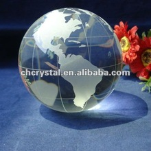 80mm clear glass antique crystal globe , crystal globe ball with world map