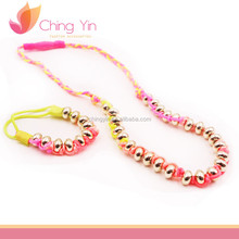 Chic Kid's Twist Cording with Gold Beaded Necklace and Elastic Bracelet Fashion Jewelry Set