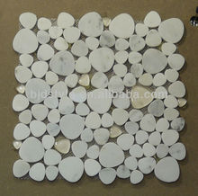 12''x12'' natural stone white marble&glass mosaic