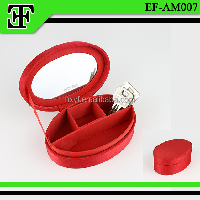 Wholesale hot selling promotional gift cheap red round small cloth leather cosmetic case/ makeup case /bags