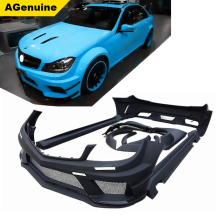 Black series type car front bumper side skirts fenders rear bumper conversion body kit for Mercedes Benz C class W204