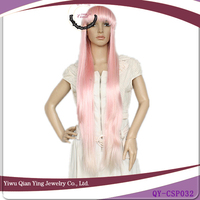 long straight cosplay white pink wig