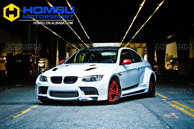 Car full body styling kits e92 front bumper M3 e92 fiber glass fender wide body kit with carbon fiber hood for 3 e92 e93 m3