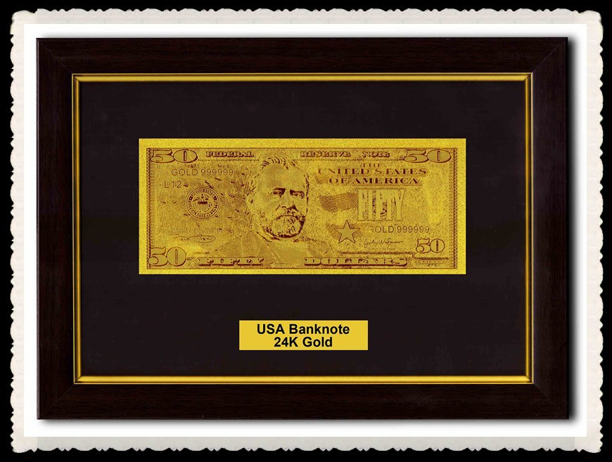 Dollar General Products Gold Foil Banknote 50 Dollars With Acrylic Photo Frame In Low Price