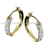 Crystal Edge Hoop Earring with 9k gold Jewelry