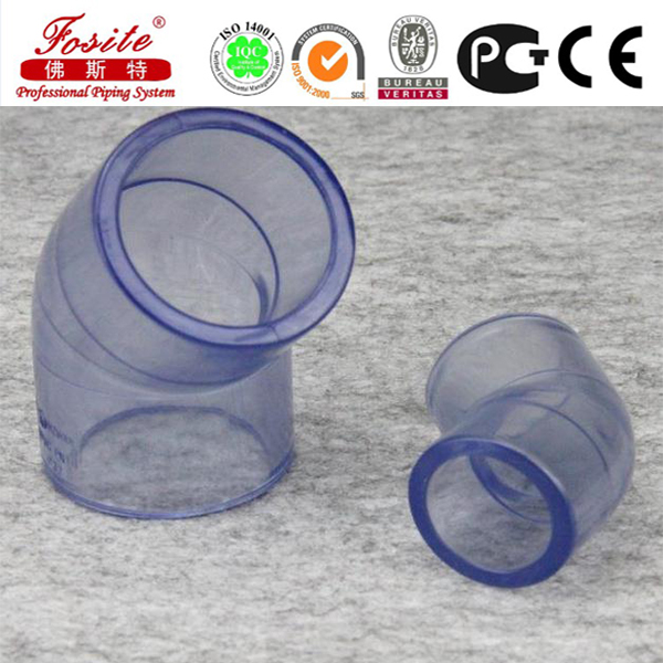 ASTM D2467 SCH80 CLEAR PVC PIPE FITTING