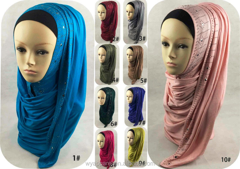 wholesale hot selling Plain cotton arab hijab sex jersey muslim hijab with beads
