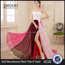 MGOO Elegant Ruched Strapless White Stock Evening Dress Empire Waist Split Color Chnaging Red Women Prom Dress A336