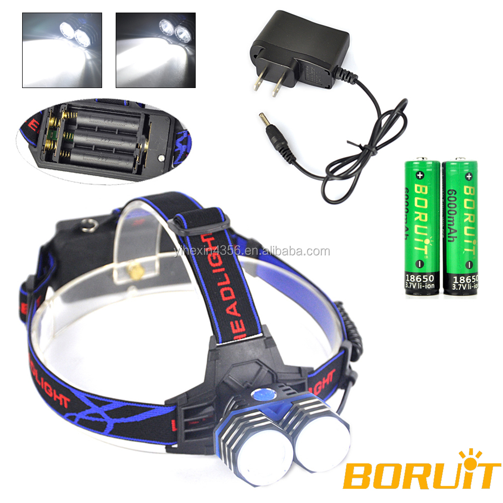 Boruit Hot USB Rechargeable High Power LED Headlamp with 6000mAh 18650 Battery RJ-0304