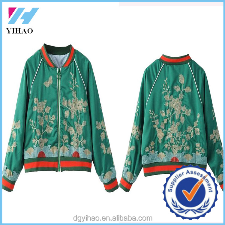 2016 wholesale camo embroidered yihao high fashion brand design embroidered latest stylish ladies custom satin bomber jacket