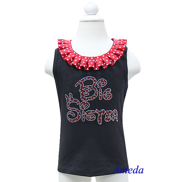 Red White Polk Dots Collar Bling Rhinestone Red Big Sister Black Tank Top 3M-10Y