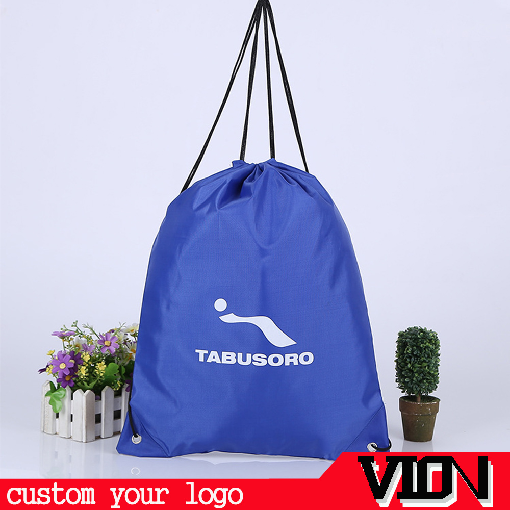 high quality 210d polyester custom drawstring backpack