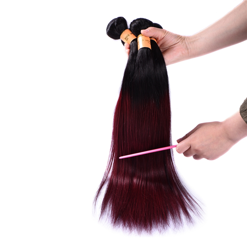 Ombre Brazilian Straight Hair 3 Pcs Unprocessed Virgin Hair Weaves Brazilian Red Hair Extensions T1b/99J Tissage Bresilienne