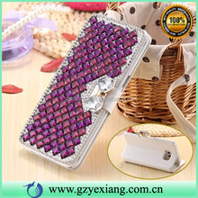 Luxury Rhinestone Flip Leather Phone Case For HTC One M7 Bling Back Cover