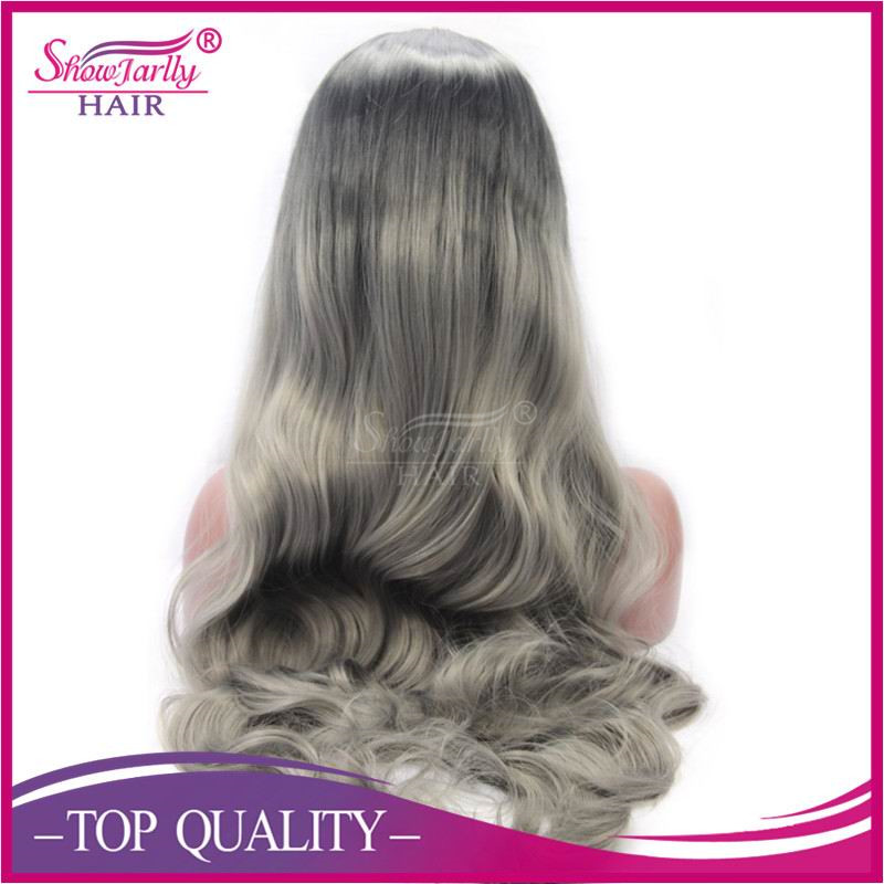 Factory wholesale long layer synthetic wig synthetic lace front wig straight grey high temperature fiber wigs