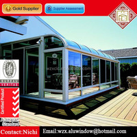 Aluminum Frame Curved Glass Roof Sunroom