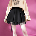 New fashion lace and cotton black puffy midi sexy skirt for young ladies