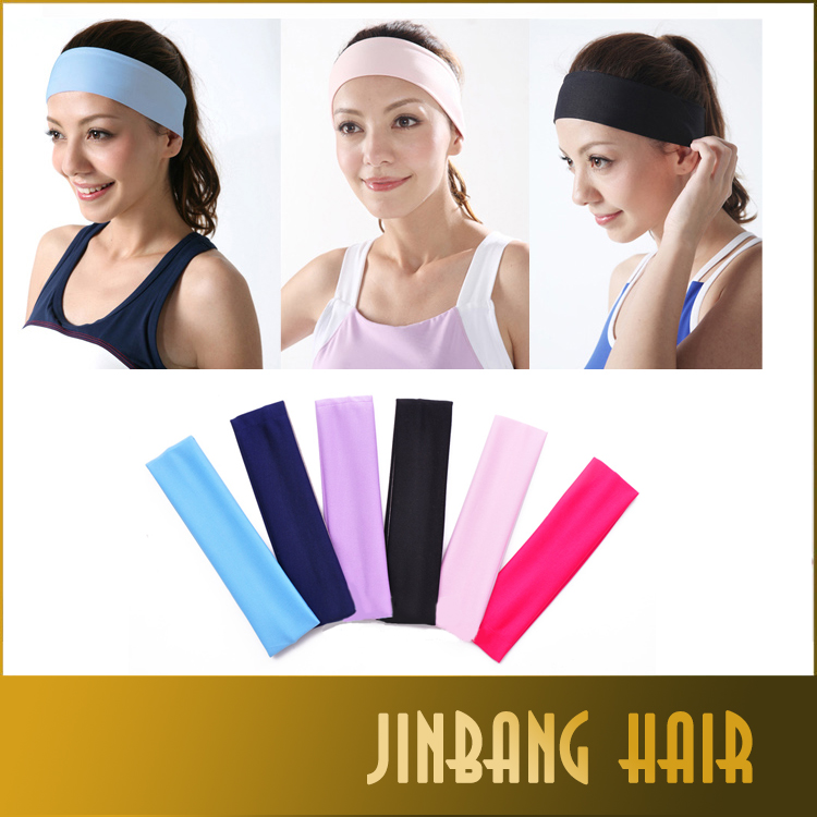 Candy color high quality sports yoga fabric hair bands headband sweat absorbing accessory for women