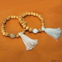 Wholesale Boho 5cm Tassel Friendship 8mm Wooden Beads Stretch Bracelet With Crystal Ball Jewelry