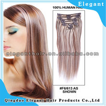 100 human remy hair brazilian side by side color hair clip in hair extension