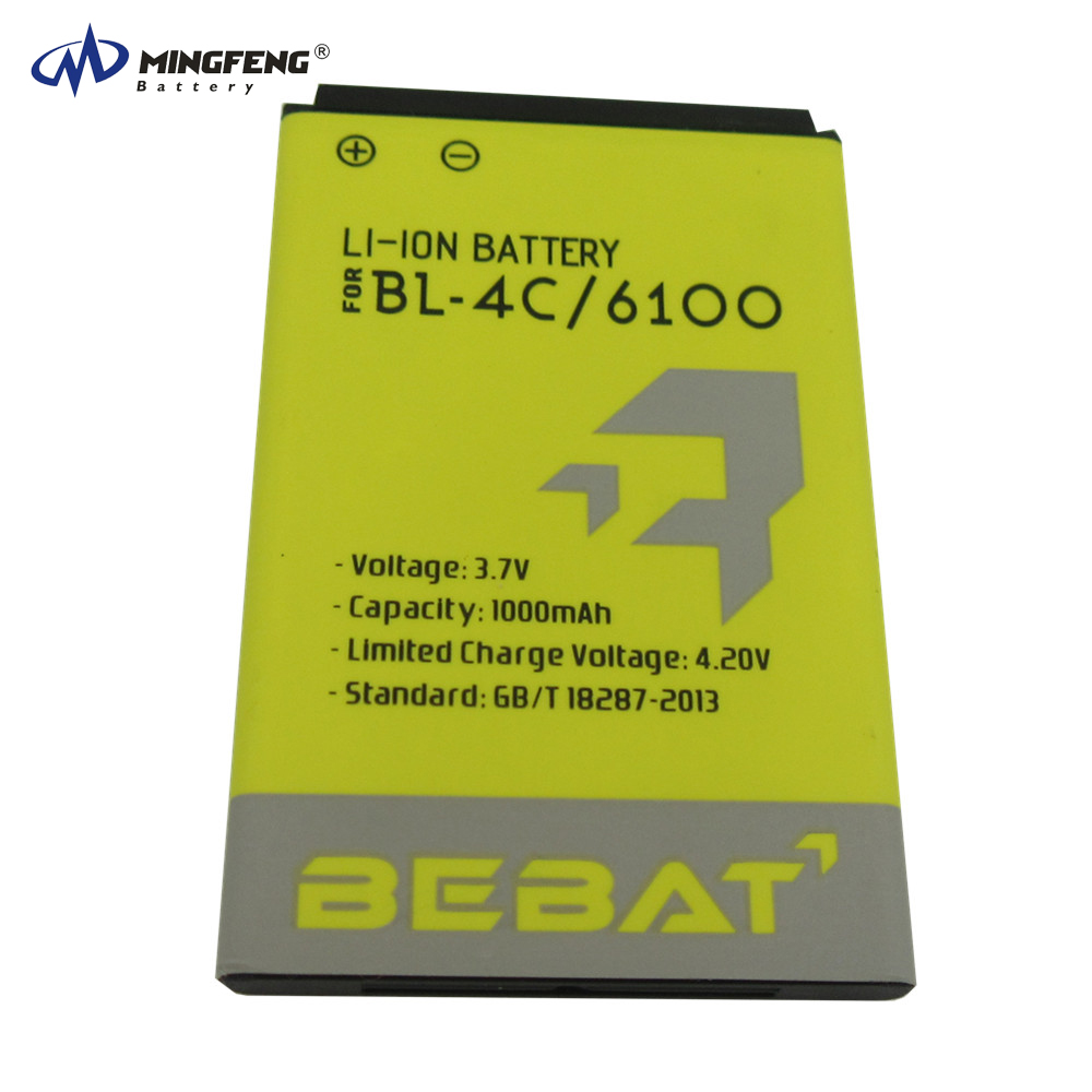 Original capacity rechargeable 3.7v 1000mAh lithium ion spice mobile phone battery BL-4C for Nokia