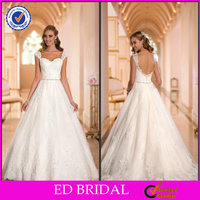 EDW198 Modest Hot Sell Beaded Belt Lace Appliqued Low Cut Back Puffy Wedding Dresses Istanbul