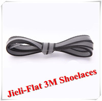 Jieli fashion flat wide double reflective shoelaces with plastic shoelace tips