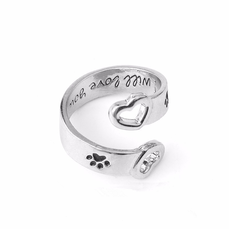 Adjustable Lovely double heart dog print rings cute cat dog paw opening finge rings for women girls dog cat lovers jewelry gift