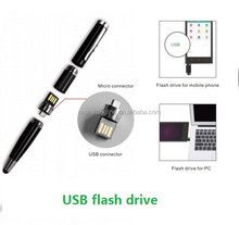 5-in-1 laser pointer LED torch light USB pen stylus pen with pocket clip