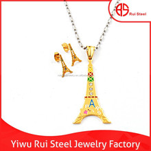 high end stylish stainless steel enamel tower costume jewelry hong kong